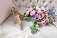 "Glittery Jimmy Choo pumps - perfect wedding shoe!  A Stunning ""Blooming Romance"" Styled Shoot"