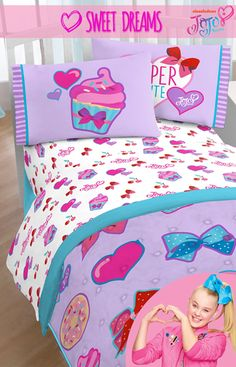 Dream crazy big like dancer, singer, social media sensation and Nickelodeon star JoJo Siwa! This super cute JoJo twin sheet set has plenty of bows, hearts and cupcakes perfect for any little girl's bedroom. Let her girl power shine and follow her dreams just like JoJo!