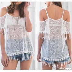 SALE! TODAY ONLY! All Over lace top Cold shoulder lace top. Perfect boho addition to your summer wardrobe! Pair it with some shorts or wear it as a swimsuit cover up! 100% rayon. This listing is for a size large.  trades. Offers considered through the offer button only. April Spirit Tops