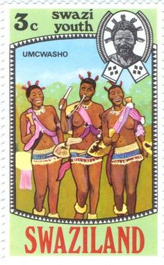 Swaziland - Umcwasho dance, girls dancing and shaking rattles