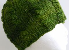 Knitted Cabled Green Beanie Hat. $20.00, via Etsy.