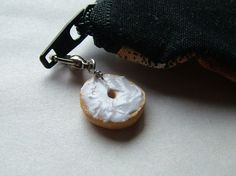 Bagel with Cream Cheese Charm, Miniature Food Jewelry, Polymer Clay Food Charm