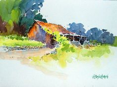 Landscape painting - beautiful hut by vilas kulkarni Watercolor Landscape Paintings, Watercolor Trees, Watercolor Artwork, Watercolor Sketch, Watercolour Painting, Landscape Art, Watercolor Flowers, Watercolors, Beautiful Paintings