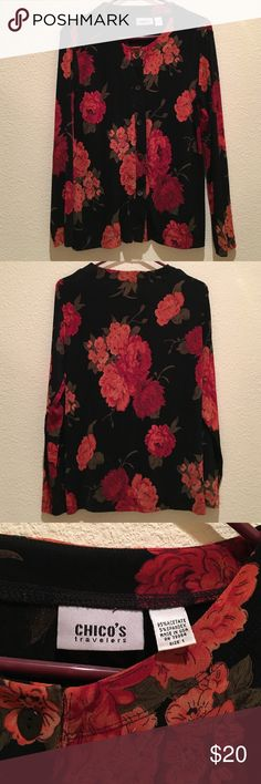 Chico's Travel Knit Floral Top Perfect condition NWOT, Chico's travel knit material button down top. Gorgeous red & coral color floral print. Size 1. Which is equivalent to a medium/ large. Fits an 8-12 easily and comfortably. Material is wrinkle free and perfect to pack for travel. 95% acetate 5% spandex. Machine washable. Chico's Tops Button Down Shirts