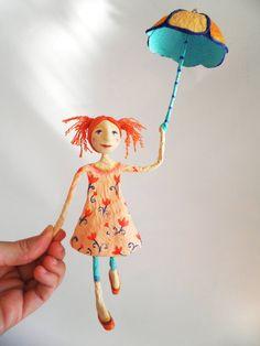Umbrella. Cartapesta and air dry clay sculpture. by ninotas