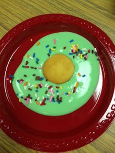 Dr Suess Green eggs and Ham made with pudding (colored with food coloring) and a nilla wafer. Yum!