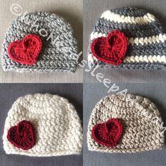 Crochet Heart Appliqué Winter Hat Choose by WhoNeedsSleepAnyways