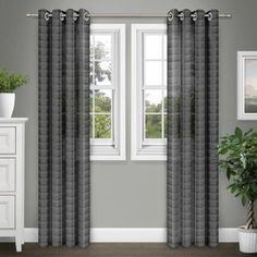 Brinley Home Sabrina Grommet 84 inch Sheer Extra Wide Curtain Panel Pair, Black