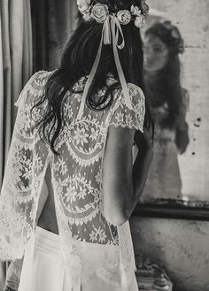 Wedding dress cover up and flower crown for the Bohemian bride.