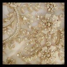 Close up of the beading on the bodice of a Casablanca gown.