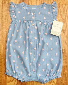 Carter's Baby Girl Romper ~ Blue & Pink ~ 6M ~ Strawberries ~ Sleeveless ~ #Carters #Romper