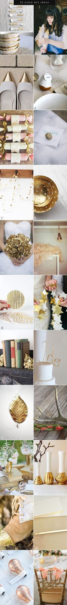 22 Gold Inspired DIY Wedding Ideas - I'm not planning on getting married in this lifetime, but these all are goddamn adorable and I will be gifting them out to buddies!