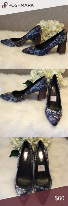 "Anthropologie Elyse'ss Floral Velvet Heels NWT Beautiful velvet shoes by Elyse'ss from Anthropologie in a gorgeous rich blue velvet . Delicate floral pattern in soft hues of light blue, taupe and lavender. 3 1/2"" Stacked wooden block heel. Length from toe to back of heel approximately 11"". Store sticker marks shoe as 8, size on bottom of shoe marked as 39. Fits closer to 8 1/5 though this is approximate . Slight markings on sole from store try on. Made in Spain. New with tags, so feminine…"