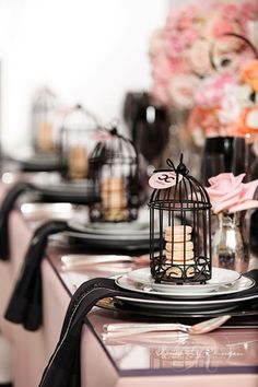 Wedding Table Decorations Idea- Coco Channel Wedding! Gorgeous Black, blush Pink and White Wedding Theme! If you would like us to create a similar look for your wedding- talk to us today! We have many wedding decoration items for hire! www.allaboutvenues.com.au #brisbanewedding #brisbaneweddingdecorations #cocochaneltheme