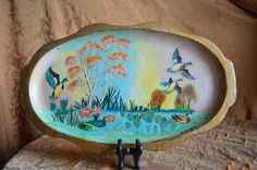Vintage Italian Florentine Tray, Made in Italy, Birds, Pond, Lily Pads, Colorful, Tray, Decorative Tray, Nature Scenery by SoulsationsVintage on Etsy Vintage Wall Art, Vintage Walls, Vintage Italian, A Table, Pond, Color Pop, Vintage Items, Scenery, Tray