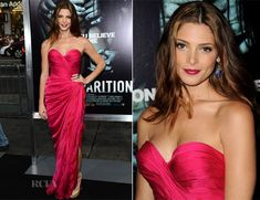 Ashley Greene In Donna Karan Atelier - 'The Apparition' LA Premiere - Red Carpet Fashion Awards Donna Karan, Celebrity Closets, Celebrity Style, Fushia Dress, Glam Dresses, Christian Clothing, Pretty Outfits, Pretty Clothes, Hollywood Glamour