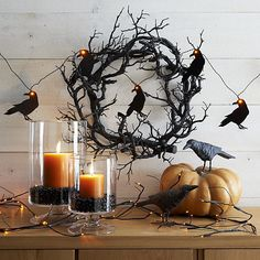 Halloween Mantle Inspiration | Spooky Twig 10' LED Halloween Garland | Crate and Barrel