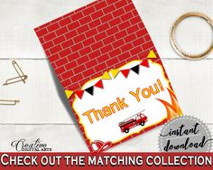Thank You Card Baby Shower Thank You Card Fireman Baby Shower Thank You Card Red Yellow Baby Shower Fireman Thank You Card - LUWX6 #babyshowerparty #babyshowerinvites