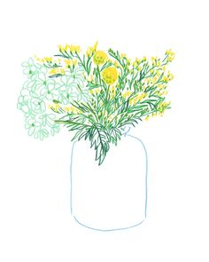 Vase with Yellow Flowers by Liana Jegers on Vase with Yellow Flowers by Liana Jegers A springtime bouquet of yellow flowers originally drawn in colored pencil on paper. The post Vase with Yellow Flowers by Liana Jegers on appeared first on Easy flowers. Art And Illustration, Botanical Illustration, Art Inspo, Inspiration Art, Illustration Botanique, Arte Sketchbook, Yellow Flowers, Flowers Vase, Exotic Flowers