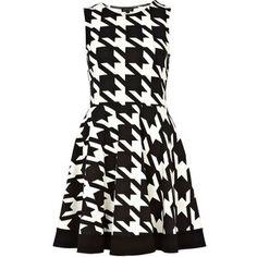 River Island Black dogtooth print skater dress