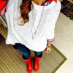 AE Sweater & Jeans + red rainboots