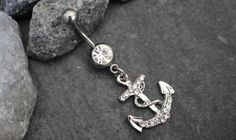 Navel Ring, Belly Button Rings Silver, Navel Piercing, Belly Button Jewelry, Anchor Curved Barbell Bar 316L Surgical Stainless Steel