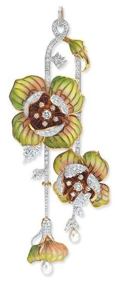 Masriera Flower Pendant. Photo courtesy Cellini Jewelers  Flower pendant with transluscent, plique-à-jour enamel and diamonds, with pearl drop accents, in 18-karat yellow and white gold. The flowers detach to make 2 separate brooches. Diamond weight: approximately 2.25 carats total.