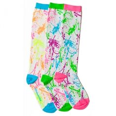 White Splatter Paint Knee High Socks Neon hues of pink, blue, green, purple, orange and yellow, splatter-painted against bright white #socks