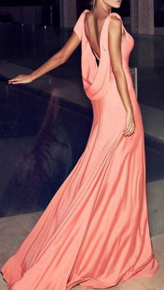 So Gorgeous! Pink Plunging Neck Sleeveless Maxi Dress #Coral #Pink #Long #Party #Dress #Couture #Style #Fashion
