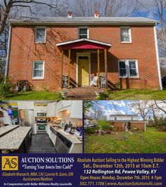 4 Bedroom, 2,000± Sq Ft Home in Pewee Valley, KY - Selling at Auction on Saturday, December 12th, 2015 at 10am. Historic 1849 Home Nestled on One Acre. Learn More Now! www.AuctionSolutionsLLC.com #realestate #residential #home #kentucky #peweevalley
