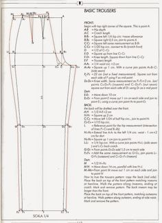 how to draft pants pattern- Joy! Previous pinner: I've been looking for something like this, I lost mine from the stanley school of dressmaking circa 1982 byeasy fitting pant drafting g pant draftEl alfabeto de la costura de alejandro timofeeva la co Easy Sewing Patterns, Sewing Tutorials, Clothing Patterns, Pattern Drafting Tutorials, Shirt Patterns, Beginners Sewing, Tutorial Sewing, Dress Patterns, Jumpsuit Pattern