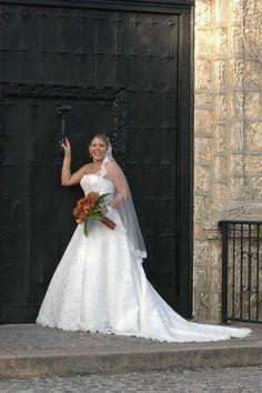A Line Davids Bridal Ivory Sleeveless Lace Wedding Dress Medium 8 10