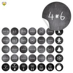 **Selbstklebende Adventskalender-Zahlen** Ideal zum Nummerieren für selbstgemachte Adventskalender und anderes wo eine Nummerierung sinnvoll ist! Zum Beispiel, falls man einer Person mehrere...
