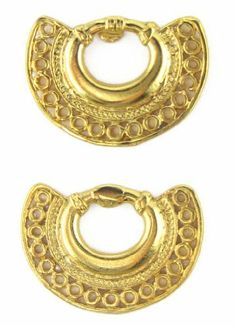 Tairona Nose Ring with Circles Earrings Across The Puddle. $24.00. Handcrafted. Charm: Nose Ring. Pre-Columbian Culture: Tairona. Numbered Certificate and Jewelry Box or Velvet Bag included. Museum Quality Reproduction