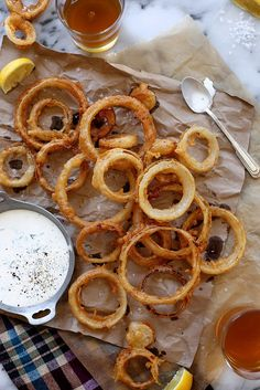 Beer Battered Onion Rings and Buttermilk Ranch Dressing - Joy The Baker.  These were delicious.  Crispy, light batter.  Onions cooked perfectly!