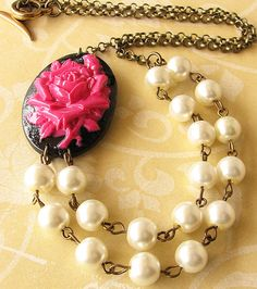 Beaded Necklace Cameo Necklace Cameo Jewelry Flower Necklace