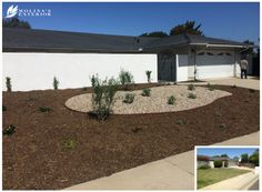 Need to enhance your curb apeal? Here is a transformation from a thirsty lawn into drought tolerant front yard. Grass was replaced with mulch, gravel and California-friendly plants.