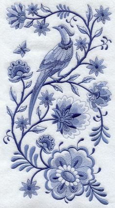 DELFT BLUE BIRD On Flowered Branches - Machine Embroidered Quilt Blocks (AzEB) $23.95