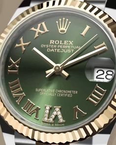 Rolex Datejust 31 Watch: Yellow Rolesor - combination of Oystersteel and 18 ct yellow gold - Breitling Watches, Rolex Watches For Men, Sport Watches, Luxury Watches, Stylish Watches, Cool Watches, Android Watch Faces, Rolex Tattoo, Black Rolex