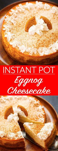 Instant Pot Eggnog Cheesecake is a creamy, Holiday favorite. It's easy and fun to make a pressure cooker cheesecake. Instapot Cheesecake, Eggnog Cheesecake, Cheesecake Recipes, Dessert Recipes, Chef Recipes, Recipies, The Cream, Instant Pot Pressure Cooker, Pressure Cooker Recipes
