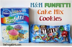 Funfetti M and M Cake Mix Cookies Recipe! ~ from TheFrugalGirls.com ~ if you're looking for a seriously FUN cookie, this is it! {just 4 ingredients!}