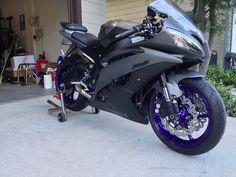 Purple powder coated wheels on a silver/black r6.