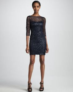 Bridesmaid Metallic Lace Cocktail Dress by Kay Unger New York at Neiman Marcus.