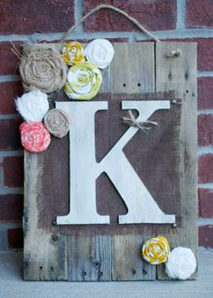 Monogram Pallet With Fabric Flowers by YellowLilacs on Etsy, $42.00
