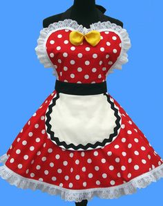 Women's Retro Apron - Retro Diner Apron, 50s vintage inspired, Minnie Mouse apron READY TO SHIP. $38.95, via Etsy.