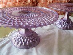 purple cake stands