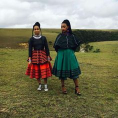 Traditional Xhosa clothing made from cotton wool glass beads shell buttons and ochre pigment is the speciality of this. African Fashion Traditional, South African Fashion, African Inspired Fashion, African Print Fashion, Traditional Outfits, Xhosa Attire, African Attire, African Wear, African Women