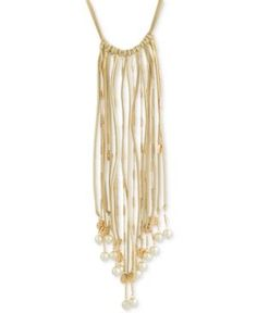 Robert Rose for Inc International Concepts Imitation Pearl Faux Suede Fringe Necklace, Only at Macy's  - Gold