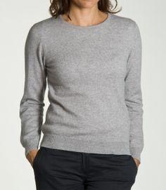 Grey Cashmere Womens Crew Neck Jumper   Cashmere Ladies Round Neck sweater