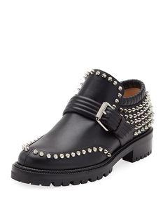 CHRISTIAN LOUBOUTIN Madame Mix Spike Slip-On Bootie, Black. #christianlouboutin #shoes #